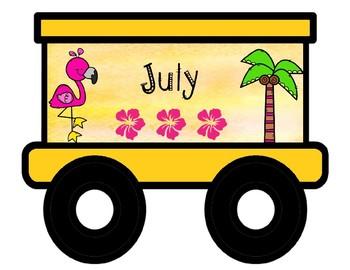 Editable Tropical Birthday Train - (Flamingo Freight)
