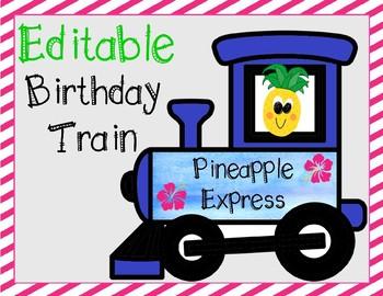 Editable Tropical Birthday Train - (Pineapple Express)