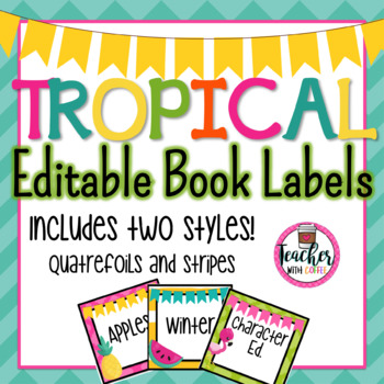 Editable Tropical Book Labels