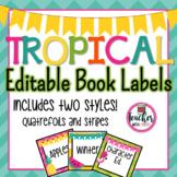 Editable Tropical Book Labels