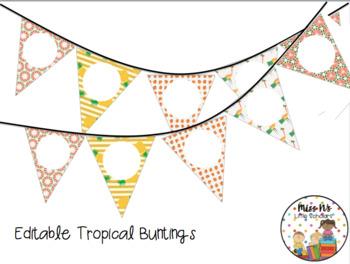 Editable Tropical Buntings