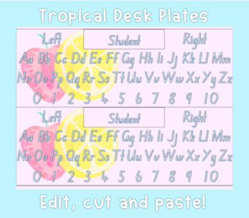 Editable Tropical Desk Plates - Alphabet and Numbers