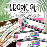 Editable Tropical Desk Tags (pineapples, flamingos, popsic