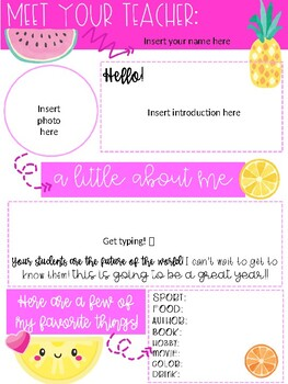 Editable Tropical Meet the Teacher