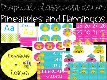 Editable Tropical *Pineapples and Flamingos* Classroom Decor Pack