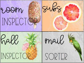 Editable Tropical Watercolor Classroom Jobs