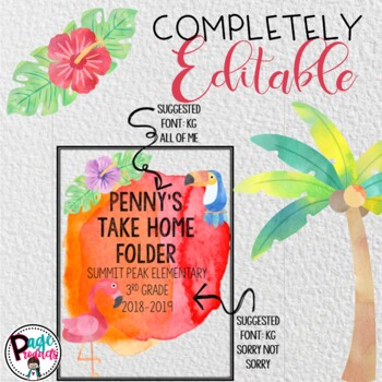 Editable Tropical Watercolor Take Home Folder Covers