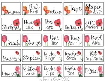 Editable Tulip Teacher Toolbox Labels
