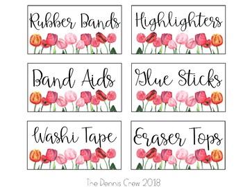Editable Tulip Teacher Toolbox Labels