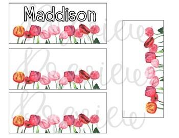Editable Tulips Name Tags