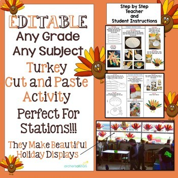 Editable Turkey Cut and Paste Activity Any Concept Any Grade