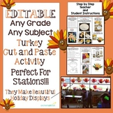 Editable Turkey Cut and Paste Activity Any Concept Any Grade