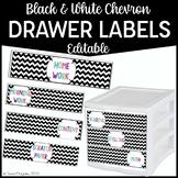 Editable Turn In Bin Labels- Black and White Chevron {freebie}