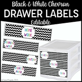 Editable Turn In Bin Labels- Black and White Chevron {freebie}
