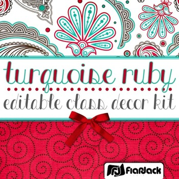 Editable Turquoise Ruby Class Decor Kit