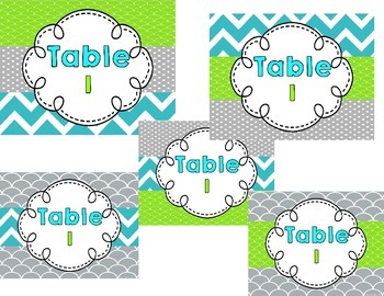Editable Turquoise and Lime Green Full Page Labels