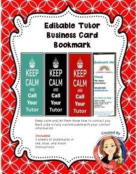 Editable Tutor Business Card Bookmark