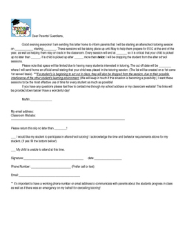 Editable Tutoring Permission Slip