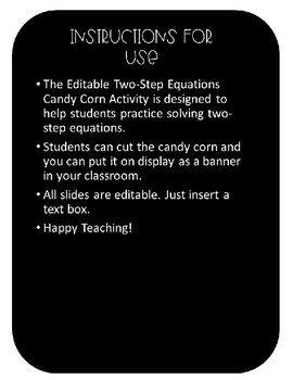 Editable Two-Step Candy Corn Equations Activity