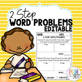 Editable Two Step Word Problems Practice with Boxes!