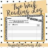 Editable Two Week Reading Log