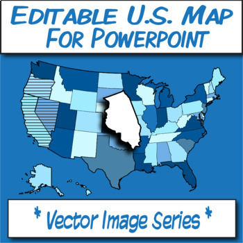 Editable U.S.A. Map Clipart for POWERPOINT **Vector Image Series**