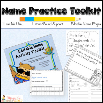 Editable Ultimate Name Practice Toolkit with Bonus ABC Recognition Set