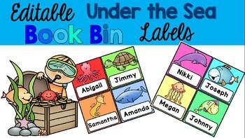 Editable Under the Sea Book Bin Labels