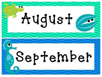 Editable Under the Sea Calendar and Classroom Super Pack