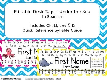 Editable Under the Sea Desk Tags