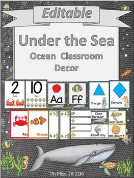 Editable Under the Sea Ocean Theme Classroom Decor Pack in BLACK
