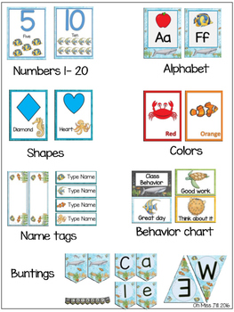 Editable Under the Sea Ocean Theme Classroom Decor in BLUE