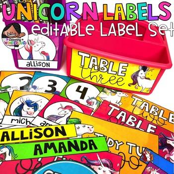 Editable Unicorn Label Set