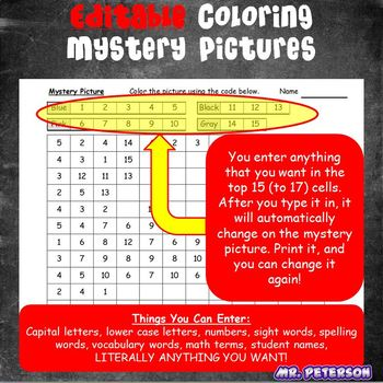Editable Unicorn Mystery Picture #1  - Sight Words Spelling Vocabulary ANYTHING