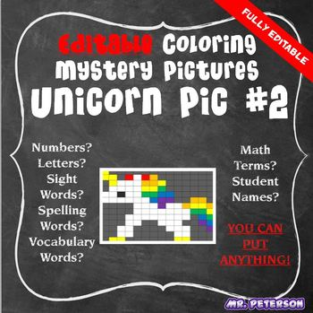 Editable Unicorn Mystery Picture #2  - Sight Words Spelling Vocabulary ANYTHING