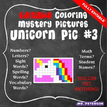 Editable Unicorn Mystery Picture #3  - Sight Words Spelling Vocabulary ANYTHING