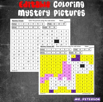 Editable Unicorn Mystery Pictures BUNDLE  - Sight Words Spelling Vocabulary
