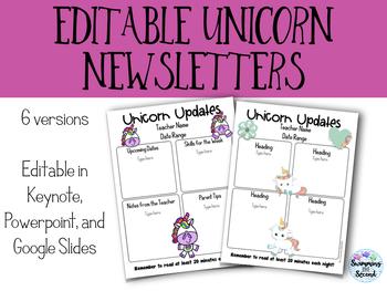 Editable Unicorn Newsletters