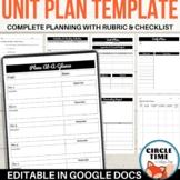 EDITABLE Unit Lesson Planning Template, Google Docs Curriculum Planner
