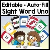 Editable Uno Cards {Editable with Auto-Fill!} {Sight Word Uno Game}