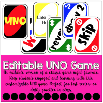Editable Uno Game **SPANISH & ENGLISH INCLUDED**