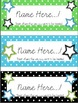Editable Upper Elementary Name Tags Green, Blue, and Black Polka Dot