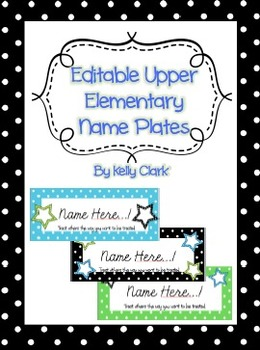 Editable Upper Elementary Name Tags Green, Blue, and Black