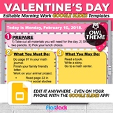 Editable VALENTINE Owl Themed Morning Work GOOGLE SLIDES Templates