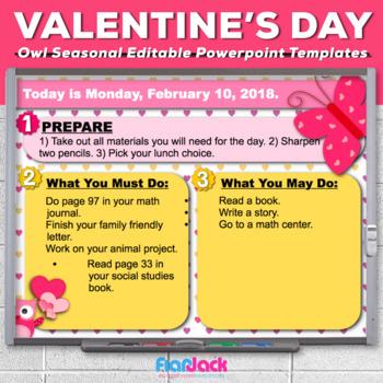 Editable Valentine Owl Themed Morning Work Powerpoint Templates Tpt