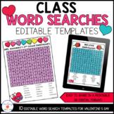 Editable Valentine Class Word Search Puzzle Templates- Print & Digital