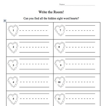 Editable Valentine Heart Sight Word Search