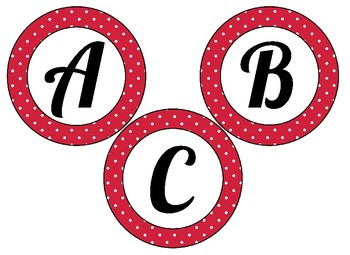 Editable Valentine Themed 4 inch Circular Bulletin Board Letters