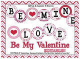 Editable Valentine Themed 4 inch Circular Bulletin Board Letters