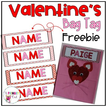 Editable Valentine name bag tags or bookmarks